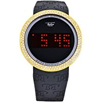 Hip Hop Iced Out Bling Diamond Gold Black Digital Touch Screen Sports Smart Watch Silicone Band/TP7373BG