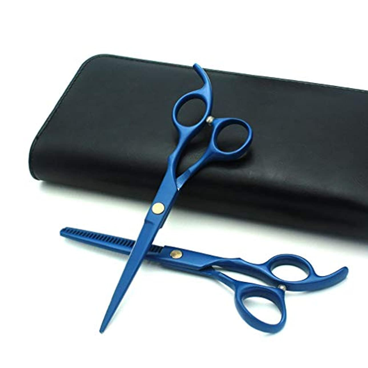経歴なめらか縞模様のヘアカットはさみ、プロの理髪はさみ ステンレス鋼のかみそりの刃、6インチの理髪はさみ,Blue