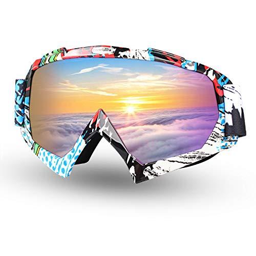 FODSPORTS バイクゴーグル カラーレンズ 防風 防砂塵 耐衝撃 紫外線対応 クリア 男女兼用 ヘルメット対応 ツーリング用 スキー用 収納バッグ付き (#1)