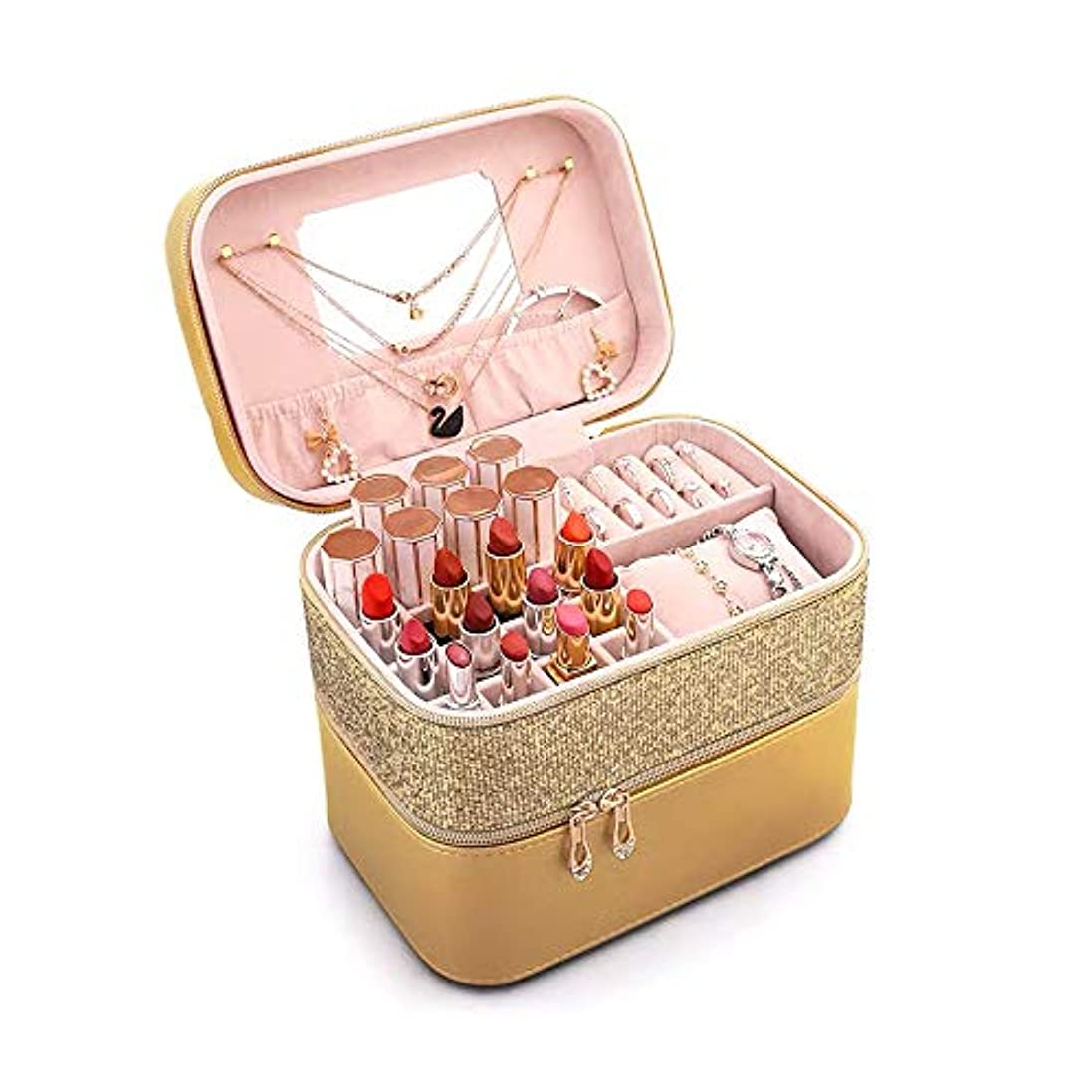 トランジスタ礼拝十億SZTulip メイクボックス 化粧品収納ボックス メイクケース コスメボックス 口紅など小物入れ アクセサリー収納 大容量鏡付き (シャンペン)
