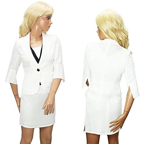 [해외]여성 정장 스커트 정장 긴팔 3 종 세트 9 호 화이트/Women`s suits skirt suit Long sleeve 3-piece set No. 9 white
