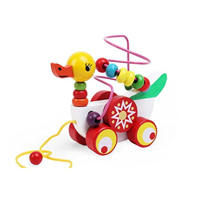 木製子Early円ビーズ迷路Roller Coaster Small DuckトレーラーToy