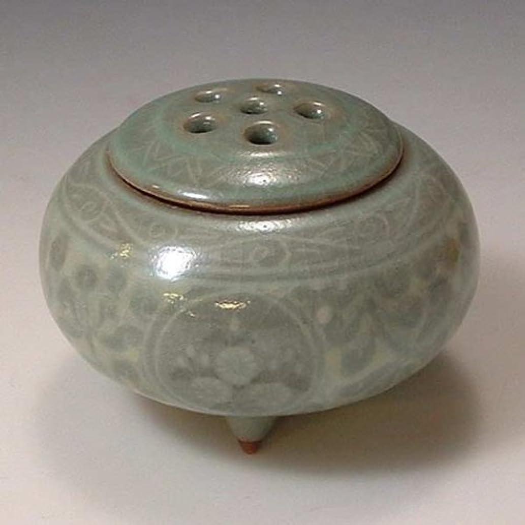 リボンアンソロジークリスチャン京焼 清水焼 豆香炉 象嵌青磁 ぞうがんせいじ YMD067