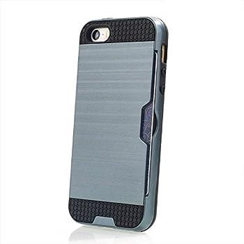 94b9ddc124 YUANSHOP1 Iphone SE/5S/5ケース カード収納機能付き スマホ保護ケース カバー 軽量 耐久性 耐衝撃  ソフトTPU+PCプラスチック 2 in 1 スマホケース カードホルダー保護 ...