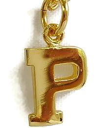 24 Kイエローゴールドメッキ10 mm PAlphabet Initial Letterチャームペンダント