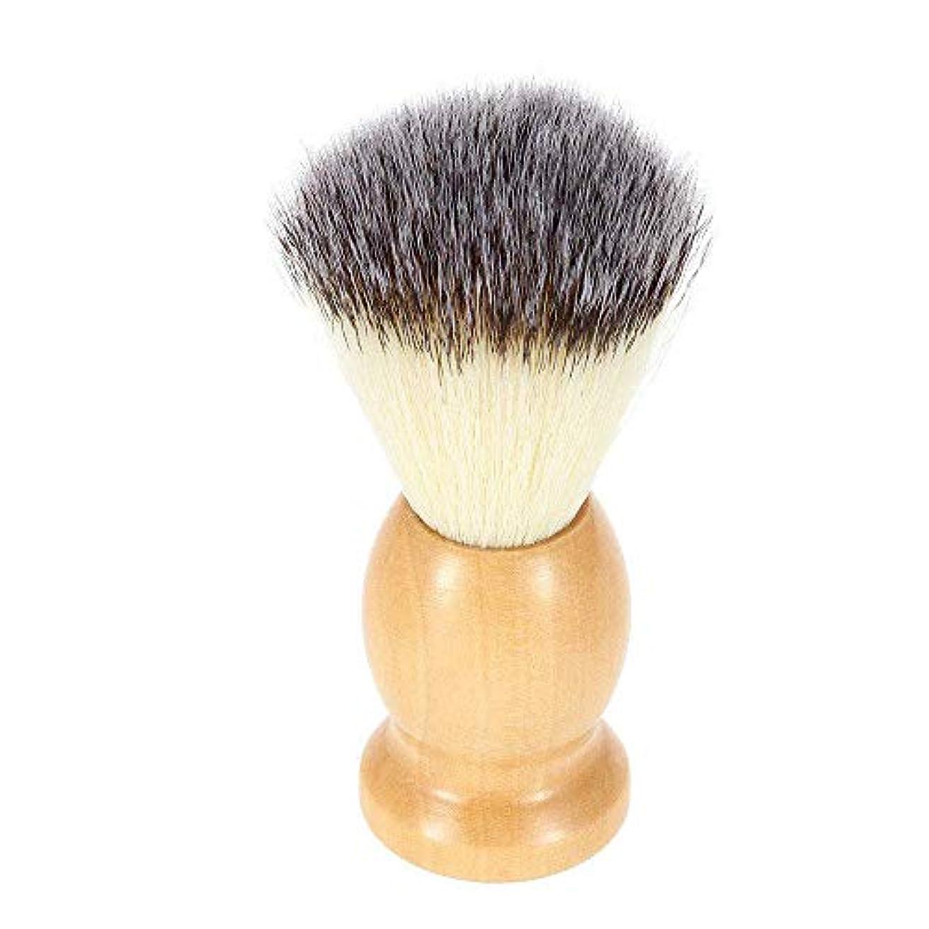 水銀の宅配便海峡1 ナイロンひげブラシ ハンドルシェービングブラシ 泡立ち 理容 洗顔 髭剃り ご主人メンズ用ブラシ 木製ひげブラシ