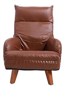 発売記念!UNE BONNE(ウネボネ)ソファ 座椅子 1人掛 チェア 背もたれ7段階・ヘッドレスト14段階リクライニング 北欧風 木製脚 脚部脱着可 脚のみ取付 ブラウン