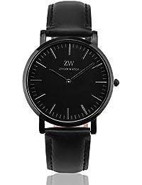 [ザイガー]Zeiger腕時計メンズレディース通用防水超薄型本革アナログ日本製クォーツムーブメント黒色30m生活防水人気ビジネス男女兼用安い W443