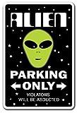 AlienノベルティSign |インドア/アウトドア|面白いホーム飾りのガレージ、リビングルーム、ベッドルーム、オフィス| SignMission駐車場Space Aliens UfoギフトArea 51SFギャグサイン壁プラークデコレーション