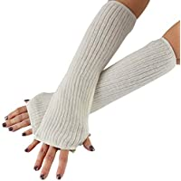 "HOME-X Stretch Knit Warming Sleeves, Fingerless Gloves for Women, Long Winter Arm Sleeves, Stretchy Half Arm Gloves-Off-White-12""L"