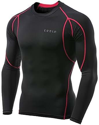 (テスラ)TESLA オールシーズン 長袖 ラウンドネック スポーツシャツ [UVカット・吸汗速乾] コンプレッションウェア パワーストレッチ アンダーウェア MUD11-KKR_S