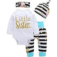 PanDaDa 4 Pcs Newborn Kids Baby Girls Cute Long Sleeve Romper Tops + Print Long Pants + Hat + Headband Outfit Sets