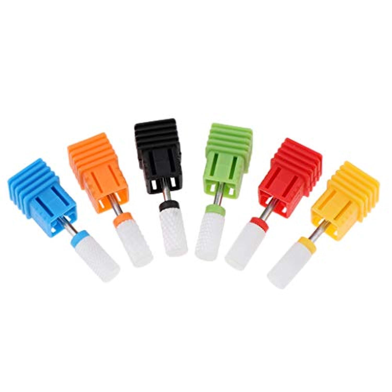 F Fityle 6個セット ネイルドリルビット セラミック ネイルファイル マニキュア 電気研削研磨ヘッド 2タイプ選べ - #2