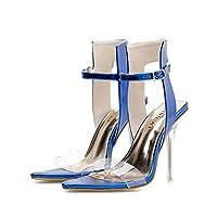 夏のクリスタルとポインテッドサンダル、女性のハイヒールのサンダル (色 : 青, サイズ さいず : 37)