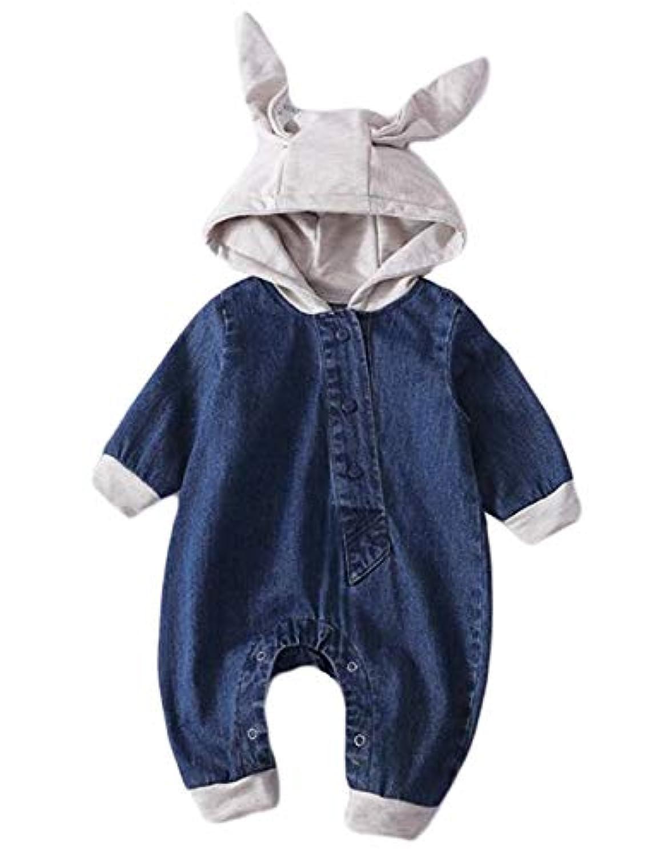 (ジャンーウェ)ベビー服 デニムロンパース 赤ちゃん オーバーオール 前開き 兎フード付き 新生児服 デニム パンツ 子供服 オールインワン 男の子 女の子 かわいい 出産祝い 春秋