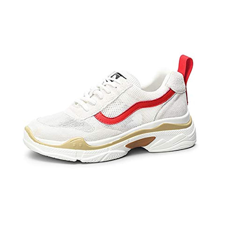 春と秋の女性の靴女性のスポーツの靴の色オプション (色 : Beige+red, サイズ さいず : 37)