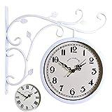 ホーム&時計 ブラケットトレインステーションで屋外のダブルサイドウォールクロックローリングウォールサイドの装飾とラウンドクロックホームインテリアメタル (色 : D)