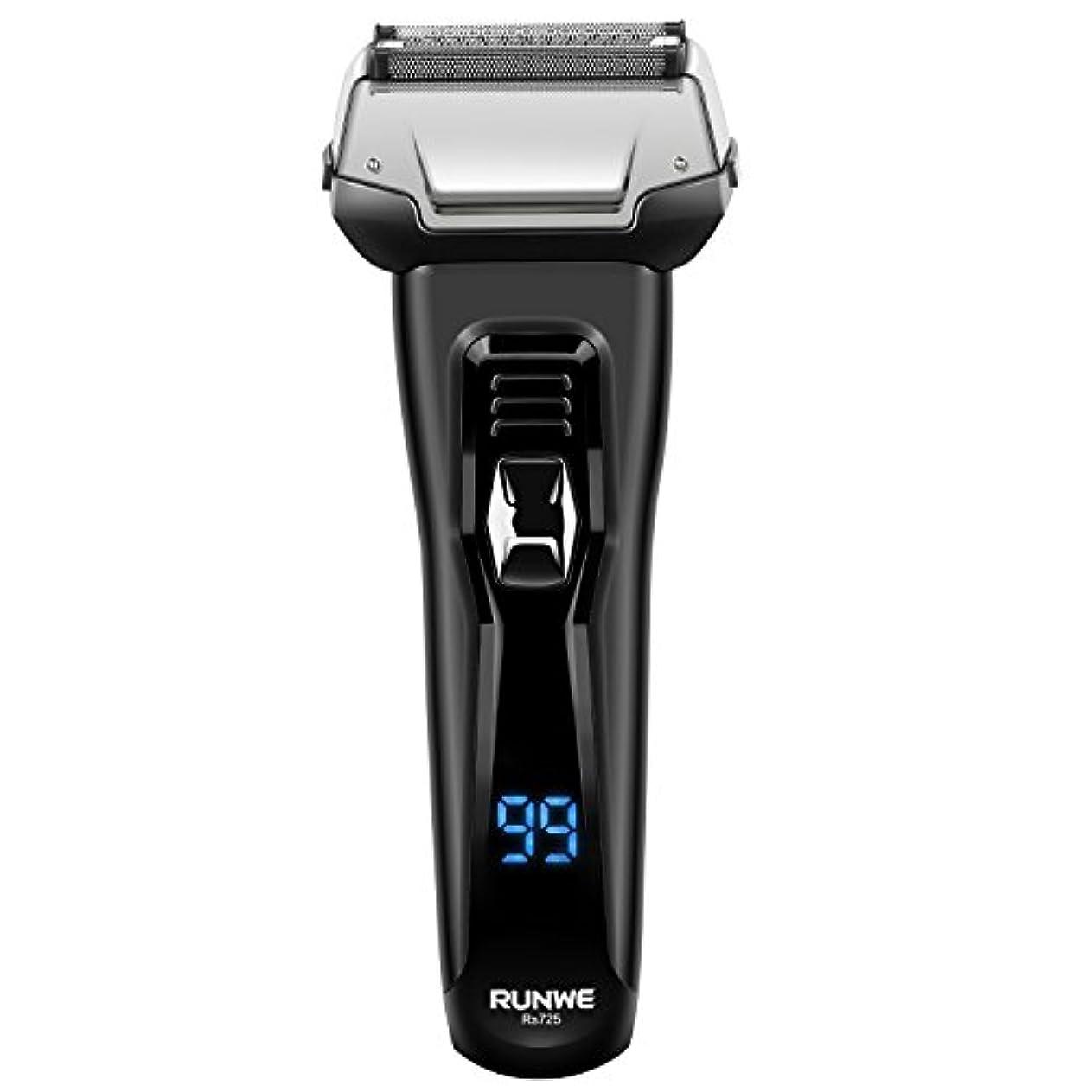 【最新型】RUNWE Rs725メンズシェーバー 往復式電動ひげそり3枚刃深剃りシリーズ お風呂剃り可IPX6級防水 海外国内両用 替刃可 プレゼントお薦め
