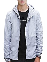 Keaac メンズ軽量フード付きのフロントジッパージャケット