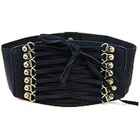 Women's Wide Vintage Velvet Elastic Stretch Waspie Corset Waist Belt for Dress