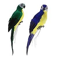 Perfeclan 2個入り 装飾品 置物 動物モデル オーナメント 鳥形 オウム リアル 家 ガーデン装飾 2色