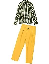 春夏 シャツ ストレートパンツ 上下 二点セット ファッションスーツ レディース