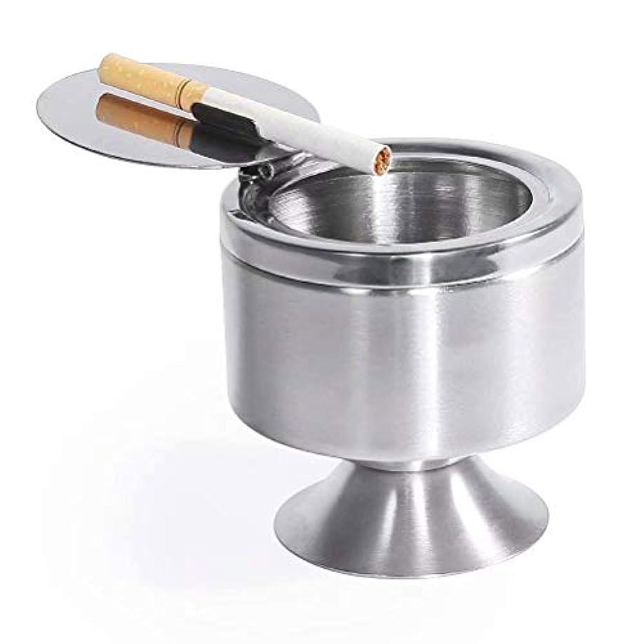 マッサージ後方することになっている新しさ灰皿、蓋付きの取り外し可能なステンレススチール製のデスクトップの灰皿や台の、喫煙者のための現代のフリップトップのタバコの灰皿、ホーム屋内屋外Officeの喫煙アッシュホルダーアッシュトレイ