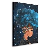 アフリカ女性と青い髪の毛 8インチ x 12インチ キャンバス画 壁アート イカの絵 抽象的なモダンスタイル リビングルーム ベッドルーム バスルーム用 One Size ホワイト painting-2130752-White-48
