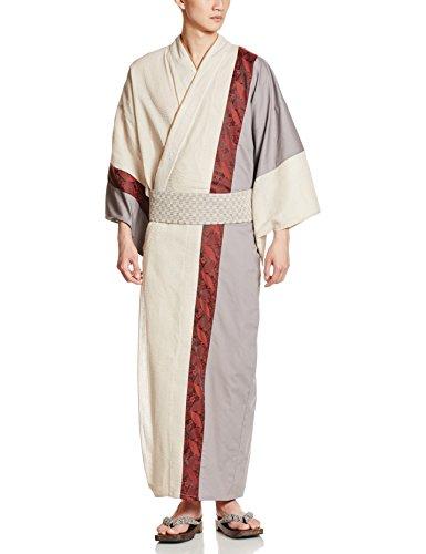 (カブク)KABUKUメンズ浴衣4点セット(浴衣、帯、下駄、巾着)月に花柄KBK-1006BeigeXLサイズXL