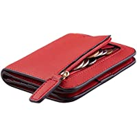 NapaWalli Womens Rfid Blocking Small Compact Bifold Luxury Genuine Leather Pocket Wallet Ladies Mini Purse with ID Window