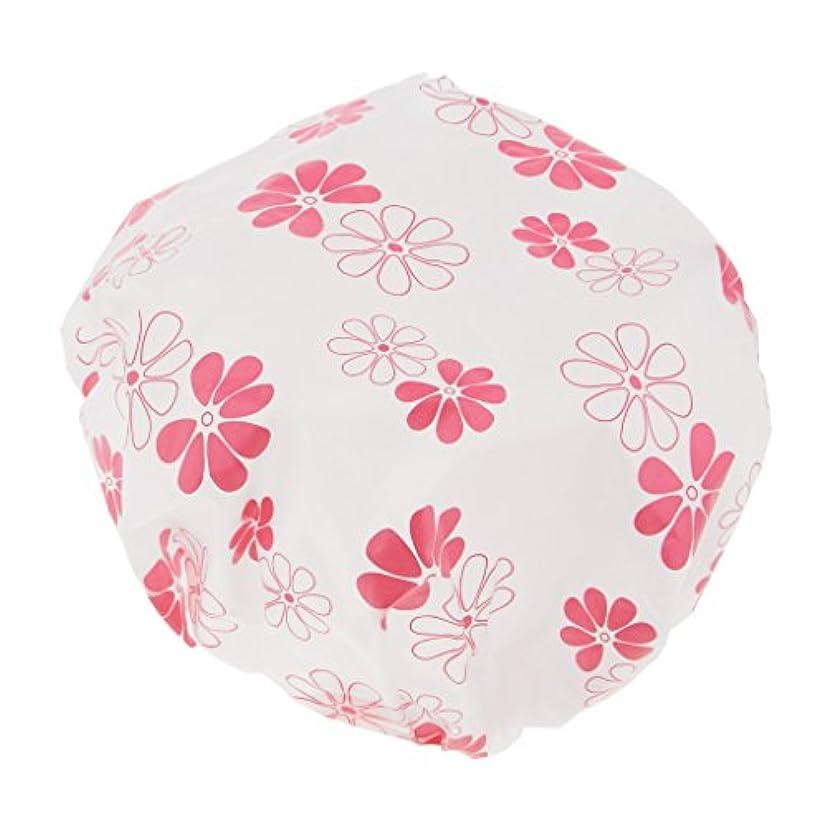 両方粘液屋内でシャワーキャップ ヘアキャップ ヘアカラー 毛染め用 お風呂用 透明 男女兼用 全3色 - ピンク
