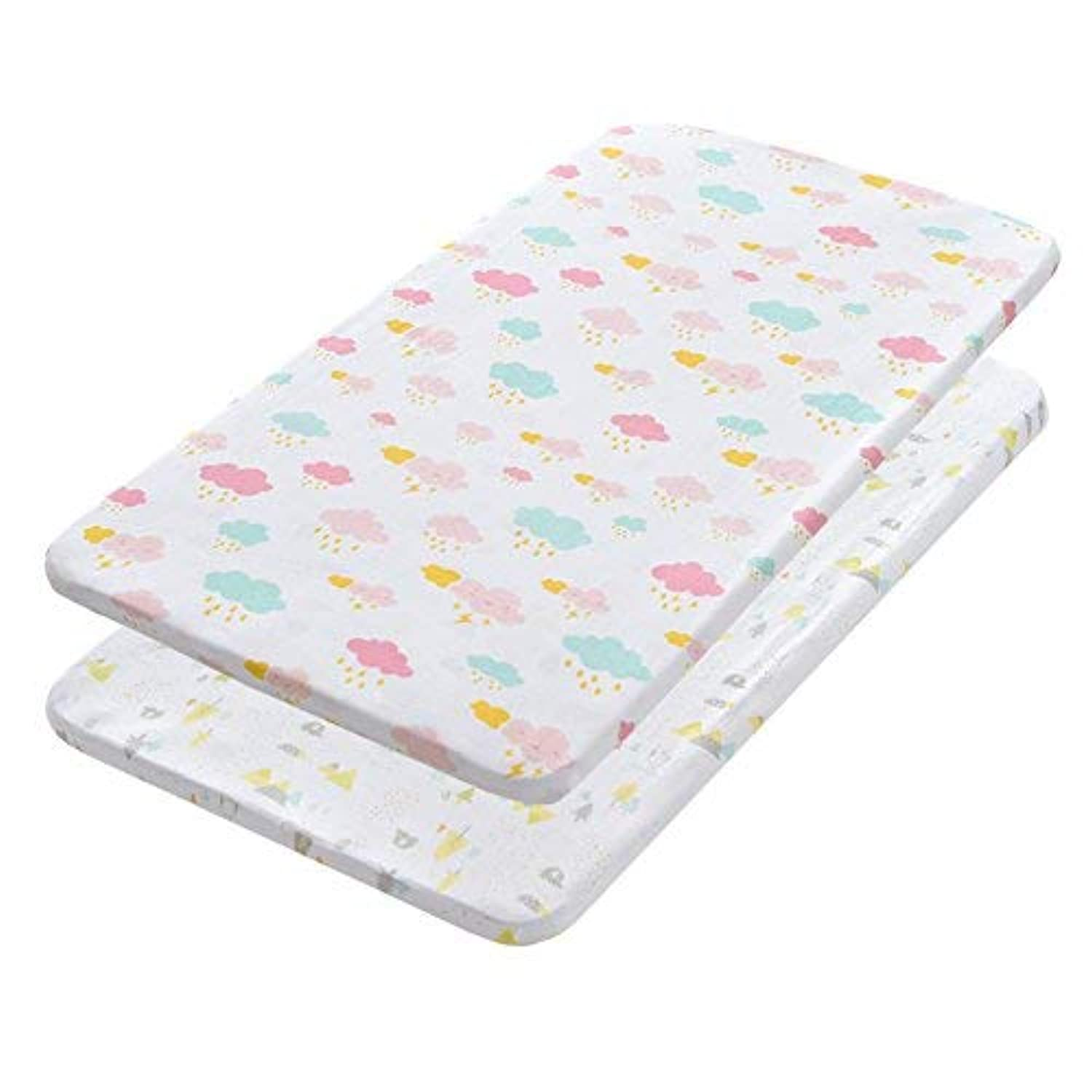 Gina Era Play Portable Crib Sheet Set 100% Jersey Cotton Unisex for Baby Girl and Boy2 Pack(style5) [並行輸入品]