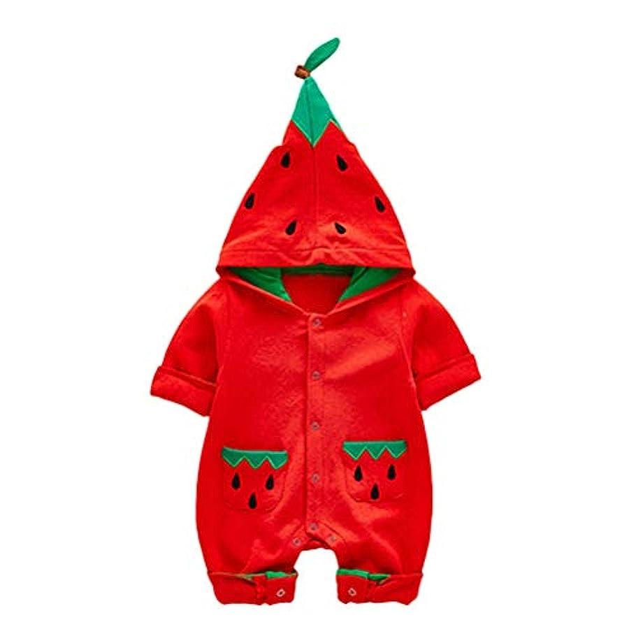 伸ばすコンパニオン悲観主義者Cozy Maker(C&M)ロンパース カバーオール 赤ちゃん 長袖 出産祝い プレゼント 柔らかい 可愛い 歩行服 男女兼用 ジャンプスーツ アウター 暖かい シンプル もこもこ スイカ COSPLAY 秋冬 写真 仮装 ハロウィン クリスマス (100CM, レッド)