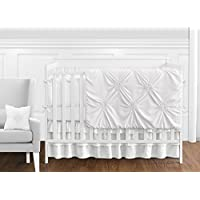 Solid Color White Shabby Chic Harper Baby Girl Crib Bedding Set with Bumper by Sweet Jojo Designs - 9 pieces [並行輸入品]