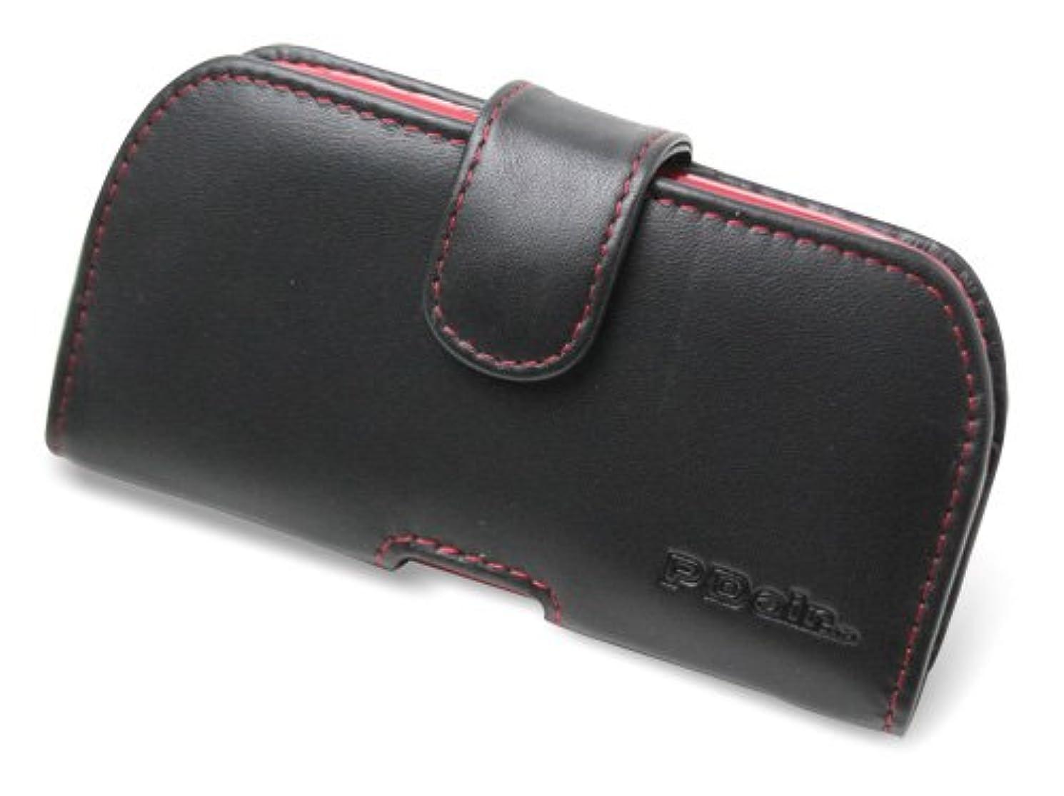 冷ややかな一節穀物PDAIR レザーケース for G'zOne TYPE-L CAL21 ポーチタイプ(ブラック/レッドステッチ) PALCCAL21P/BL/RD