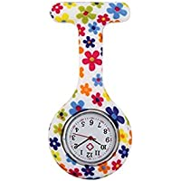 Fashionable Watch Nurses Fashion Colorful Flowers Patterned Silicon Rubber Fob Watches