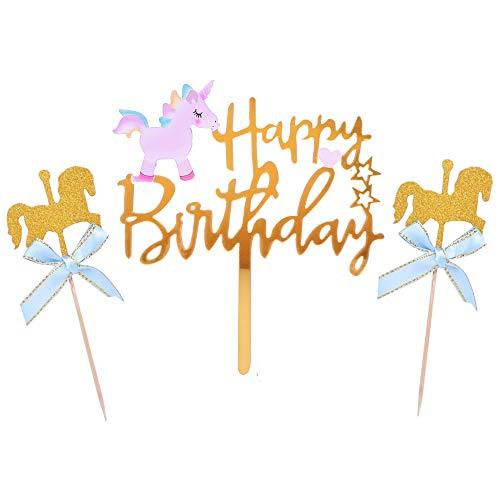 YUINYO ユニコーン ハッピーバースデー ケーキトッパー ピンクとブルーのグリッター ケーキトッパー 誕生日パーティーデコレーション用品 ゴールド アクリル 3個セット