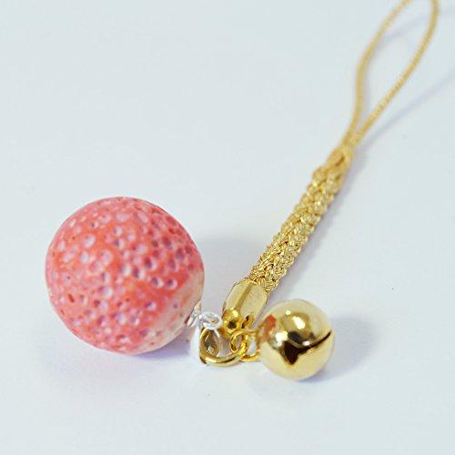桃色珊瑚 す珠 根付 金色紐
