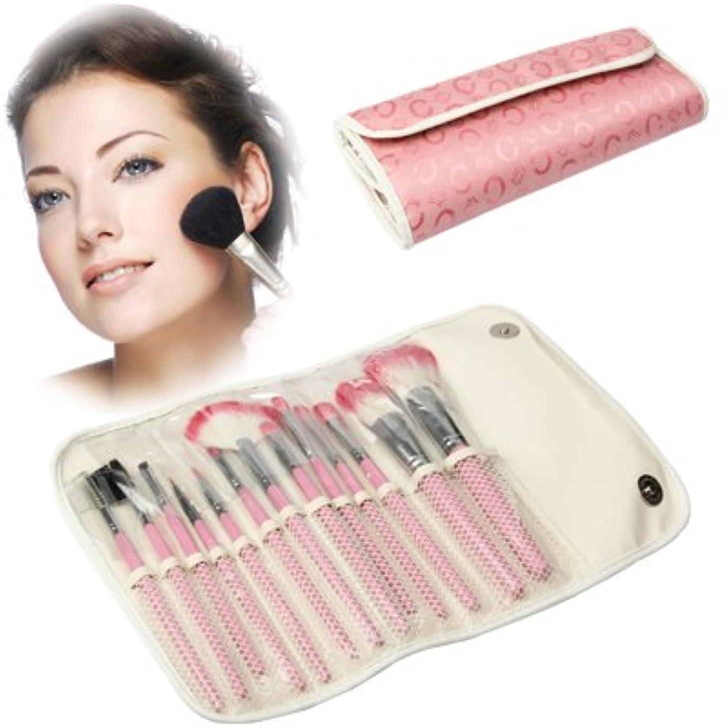 エジプト非難容器MEI1JIA 13pcsブラシキットセットフェイシャルケアアイテムとQUELLIA折り畳み式の合成皮革化粧ブラシケースバッグ(ピンク)
