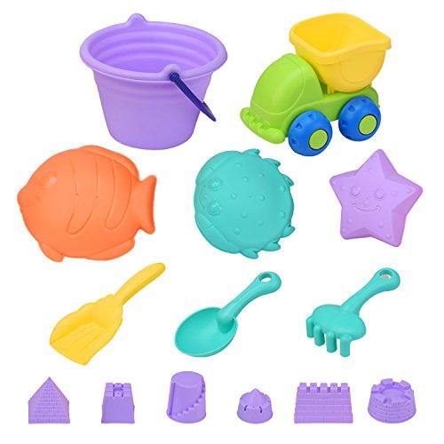 ColorGo 砂遊び おもちゃ 子供 水遊び カラフル 型抜き 砂遊びセット おもちゃカー付き おでかけ 砂場 海や公園 おままごと お風呂用 知育玩具 (14点セット)