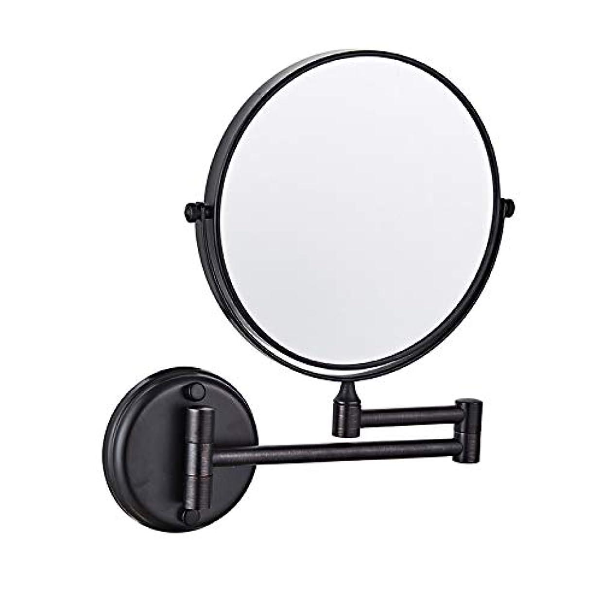 ポーチダイジェストスイバスルームミラー壁掛, シェービングミラー, 無料調整 格納式、回転式、クロム、装飾ミラークリエイティブウォールマウントバスルームのメイクミラー 浴室用リビングルーム - ブラック 8inch 5X 拡大鏡