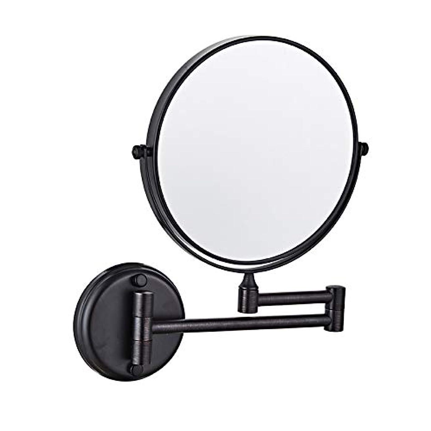 バスルームミラー壁掛, シェービングミラー, 無料調整 格納式、回転式、クロム、装飾ミラークリエイティブウォールマウントバスルームのメイクミラー 浴室用リビングルーム - ブラック 8inch 5X 拡大鏡