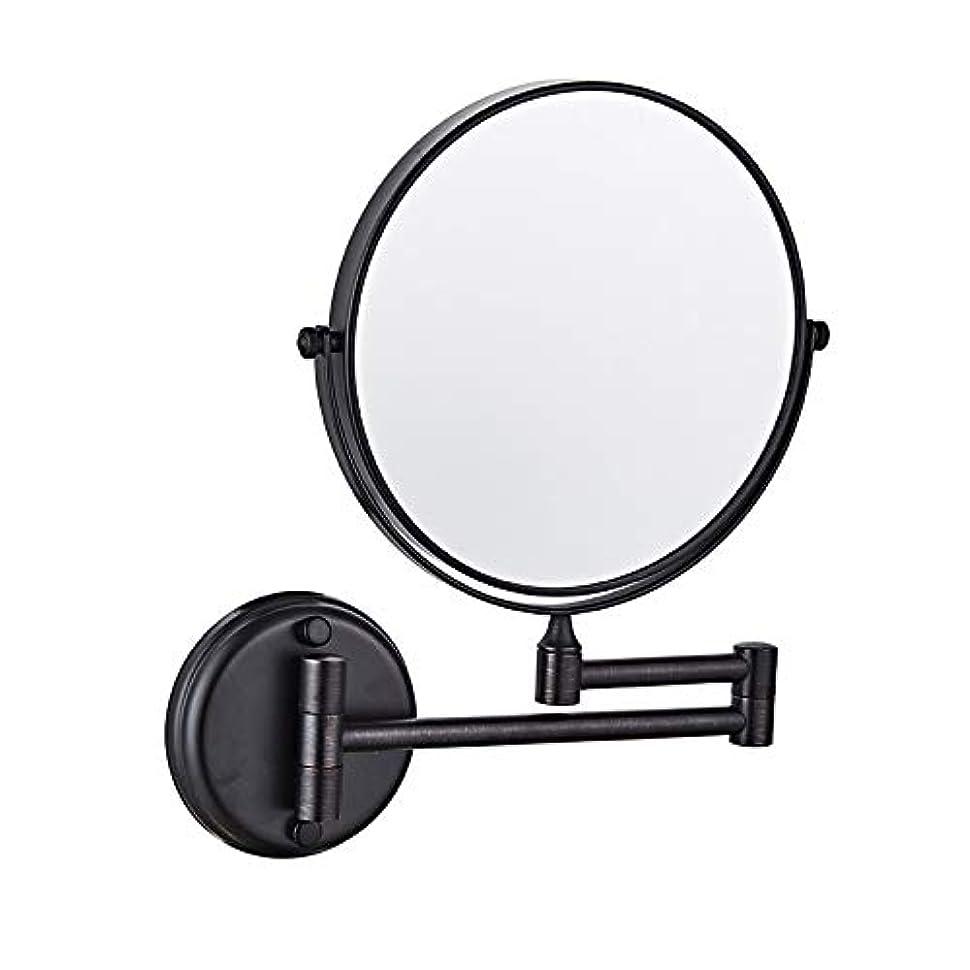 間違っている絶望ヒューズバスルームミラー壁掛, シェービングミラー, 無料調整 格納式、回転式、クロム、装飾ミラークリエイティブウォールマウントバスルームのメイクミラー 浴室用リビングルーム - ブラック 8inch 5X 拡大鏡