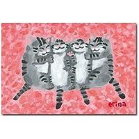 猫の足あと ポストカード 「はなびらのおふとん」