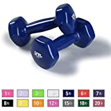 SPRI Dumbbells Deluxe Vinyl Coated Hand Weights All-Purpose Color Coded Dumbbell for Strength Training (Set of 2) (Available in 1-10 Pounds, 12, 15, 18 & 20 Pounds)