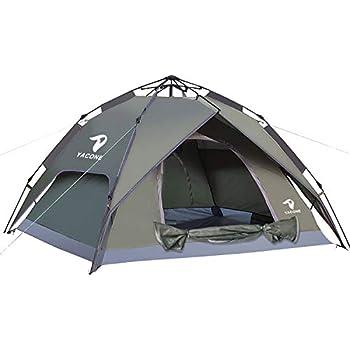 YACONE テント 3~4人用 ワンタッチテント 二重層 ワンタッチ2WAY テント 設営簡単 uvカット加工 防風防水 折りたたみ 超軽量 防災用 キャンプ用品 アウトドア 耐水圧3000mm 3色選択 (アーミーグリーン NEW)