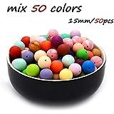 SHIWU 歯固め シリコン ビーズ 安全素材 15MM 50個 赤ちゃん 50色入り シリコーン 歯がため DIY おしゃぶりチェーン [BPAフリー][FDA認可済]