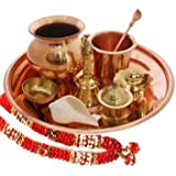 White Whale Indian Special Brass Pooja Thali Set for Pooja Decorative Complete Occasional