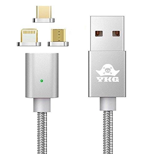 YKG 3in1 マグネット 急速充電ケーブル iPhone & TYPE-C & microUSB 対応 (3in1,シルバー)