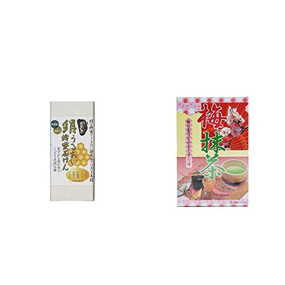 ラバ連続的リーダーシップ[2点セット] ひのき炭黒泉 絹うるおい蜂蜜石けん(75g×2)?梅抹茶[大](24袋)